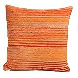Homescapes Chenille Kissenhülle gestreift orange Kissenbezug 45 x 45 cm 100% Reine Baumwolle mit Reißverschluss