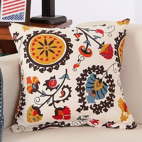 Yifom Fiore di pastorale di cotone letto lavabile schienale home divano cuscini (Deer Coperta Del Tiro)