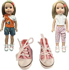 ZWSISU 2PCS Outfit Clothes +1 pairs sport pink shoes fit American girl doll wellie wisher