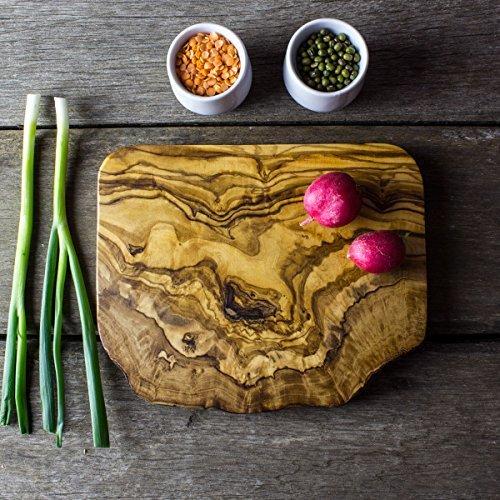 Tabla de cortar rústica, madera de olivo, 20x 15x 2cm