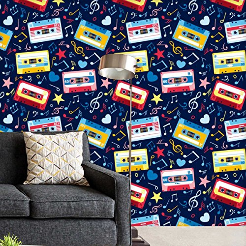 AZ Music Cassettes Self-Adhesive Peel & Stick PVC Vinyl Wallpaper 20 x 432inch; Area 60sq.ft