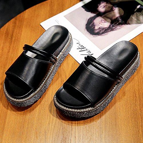 XY&GKSandales femmes fond épais le mot All-Match Faites glisser une des étudiantes de porter des chaussons sont les chaussures de plage Black