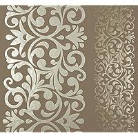 Hervorragend Streifen Damast Tapete Aus Vinyl Waschbar Relief Hochglanz Walnuss Und Gold  Ornamental Home U2013 55235