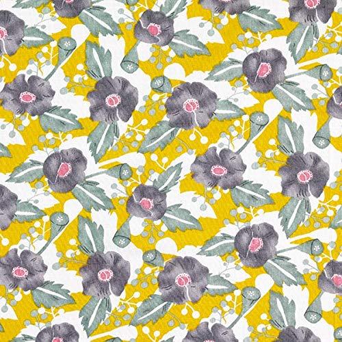 9c962bec0d9d5d Fabulous Fabrics Viskose Baumwolle Mix Blumen Druck – Weiss senf — Meterware  ab 0