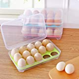 N/D Boîte à œufs en Plastique boîte de Rangement pour œufs de Cuisine 15 Grille Support à œufs empilable congélateur organisa