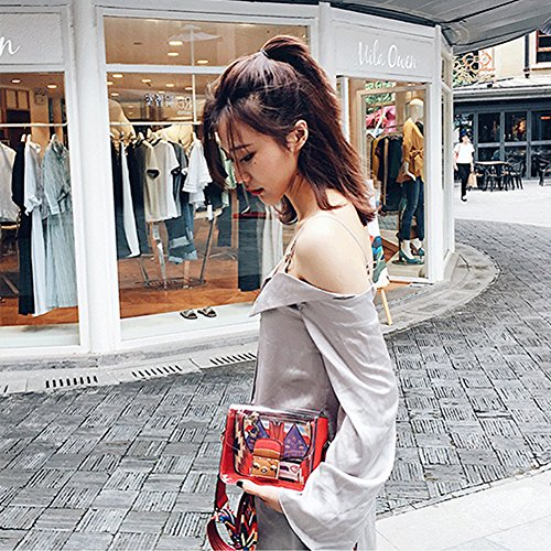 Yoome Cartoon Contrast Colore Flap Jelly Bag Transparent Beach Cintura New Chic Crossbody Borse - Tenda Bianca Tenda bianca