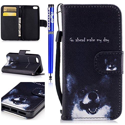 EUWLY Case Cover per iPhone 6 Plus/iPhone 6s Plus (5.5),Ultra Slim Sottile Custodia Protettiva Portafoglio pelle PU Case Lusso Flip Stand Slot Funzione di Supporto Leather Wallet Case per iPhone 6 Pl Cane Promettente