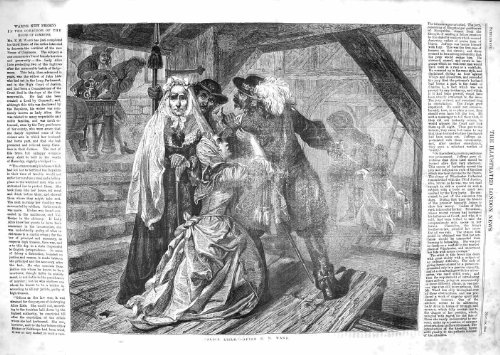 SALLE ANTIQUE de 1859 d'IMPRESSION d'ALICE LISLE d'HOMMES DAMES d'ÉPÉE [Cuisine et Maison] par original old antique victorian print