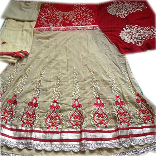 AASRI Women Cream Red Georgette Lace Embroidered Semi Stitched Anarkali Suit  available at amazon for Rs.599
