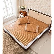LIXIONG Cama-colchón plegable Supercool Bedding Alfombras de bambú Colchón tejido Uso de doble cara para el verano-Twin / Full / Queen / King Size -Colchonetas de verano ( Color : B , Tamaño : 80x190cm )