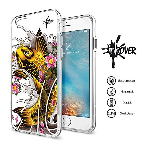 Cover iphone 6 / 6s plus - inkover - custodia cover protettiva guscio soft case bumper trasparente sottile slim fit tpu gel morbida inkover design tattoo tatuaggio carpa giapponese japan koi per apple iphone 6 / 6s plus