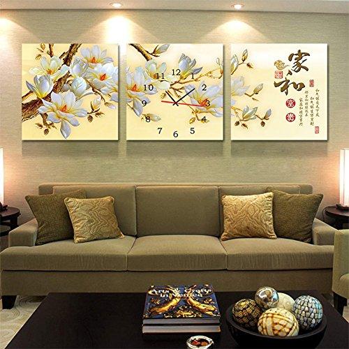 olileio Chinesische Moderne Gemälde Das Sofa im Wohnzimmer Wandmalereien schmücken von kein Bild malen ein Wanduhr und Reichtum, Magnolia 30* 30,25mm Dicke Leinwand Dichtung Membran, triple-animación kariert (Karierte Leinwand)