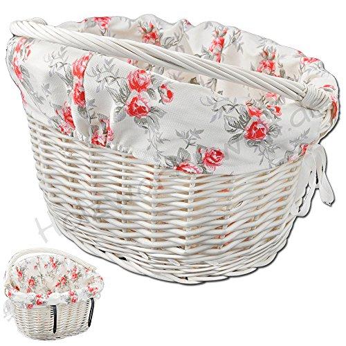 Weide Rose (Fahrradkorb mit Haltebügeln und Einlage (Cremeweiß / Rosen) Weide Einkaufskorb Lenker Lenkerkorb Weidenkorb)