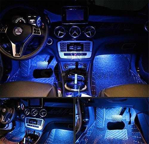 Kit di 4 luci LED per interni d'auto da posizionare sotto il cruscotto, con adesivo 3M, luci d'atmosfera- Price Xes