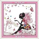 YEESAM ART Nouveau Point de Croix Kits de Broderie au Avancée - Une fleur Fée Papillon 14 Comptage 34×34 cm Blanc Toile - Travaux d'aiguille Noël Cadeaux...