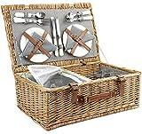 Home Innovation Panier de Pique-Nique en Osier pour 4 Personnes avec Sac Isotherme, Couverts, Verres à vin, Assiettes et Serviettes de Table, Rayures Vintage et Grande capacité