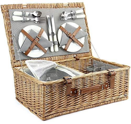 4 Personen Weiden KorbgeflechterPicknickkorb mit Kühltasche, Handgefertigtes großes Wicker Picknick Set mit Utensils Besteck - Perfekt für Picknick, Camping oder jede andere Outdoor Veranstaltung