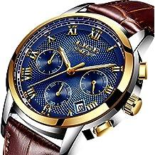 Reloj para Hombre Impermeable Deportivo Reloj cronógrafo Top Marca Luxury LIGE Negocio Reloj Negro Caso Correa