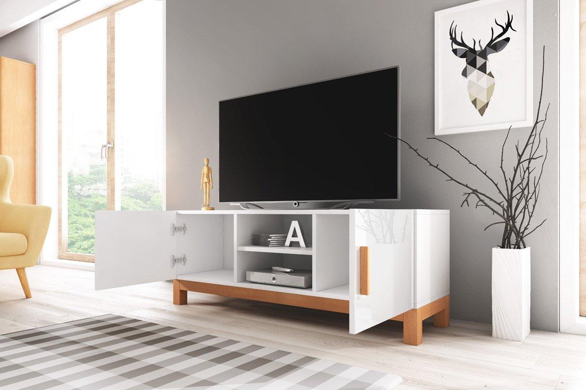 Norge Meuble Tv Style Scandinave Blanc Mat Avec Gris Brillant  # Meuble Tv Vero Scandinave