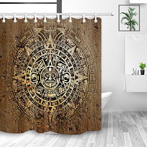Y & M Home Mandala, Vorhänge Dusche, Native Azteken Kalender Maya-Luck Schild in Vintage, schimmelresistent Stoff wasserdicht Duschvorhang, Bad Zubehör-Sets, Haken inbegriffen, 177,8x 177,8cm