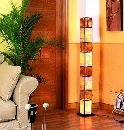 Lamparas de Pie Artesanales : Modelo WADHISH Miel de 14x153x14cms.
