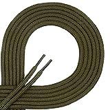 DI FICCHIANO Cordones redondos para calzado de negocios y de cuero, cordones versátiles, 3 mm de diámetro, longitud 60 - 130 cm, 25 colores, de poliéster, Unisex, verde oliva, 60 cm