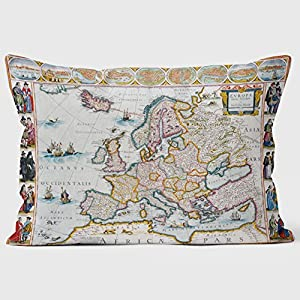 1672Europa mapa biblioteca cojines
