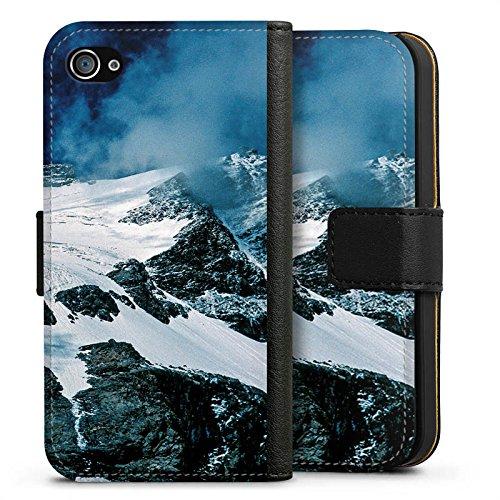 Apple iPhone X Silikon Hülle Case Schutzhülle Gebirge Berge Schnee Sideflip Tasche schwarz
