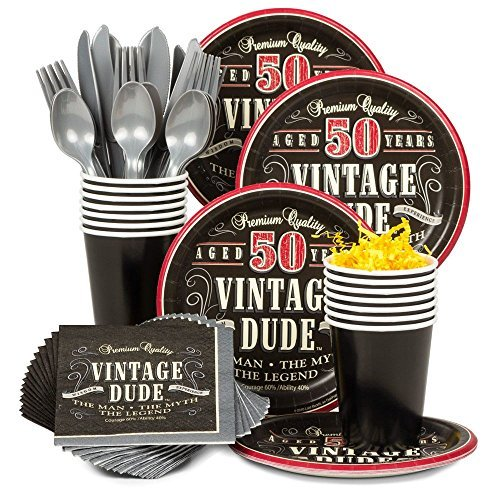 BBKIT696 Vintage Dude 50th Birthday Party Standard Tableware Kit by Costume SuperCenter ()