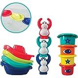 LUDI - Coffret de jeu d'eau pour s'amuser à l'heure du bain. Dès 10 mois. 3 gorilles rigolos qui aspergent, 4 bateaux et 4 ve