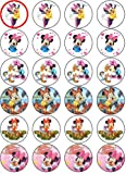 MINNIE MOUSE 24 EDIBLE WAFER - RICE PAPER CAKE TOPPERS EACH DESIGN IS 40mm IN DIAMETER