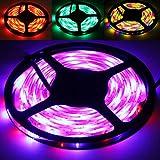 5M 3528 SMD RGB LED Streifen Stripe Lichtband Band Leiste Lichterkette Bunt Viele Farben Fernbedienung für drinnen und draussen mit Netzteil Trafo