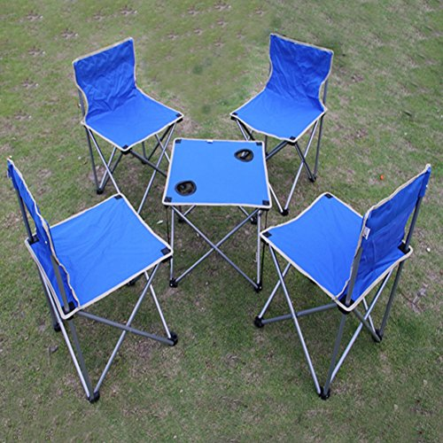QIANGDA Camping Pliante Table Chaise Ensemble de 5 pièces Stable Fort Alliage d'aluminium Multi-Fonction Portable - Pliable: 73cm x 24cm x 18cm, 3 Couleurs optionnel (Couleur : Bleu)