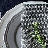 Linen & Cotton 4 x Luxus Stoffservietten HONEYCOMB, 100% Leinen - 47 x 47cm (Schwarz/Beige/Grau) - 4