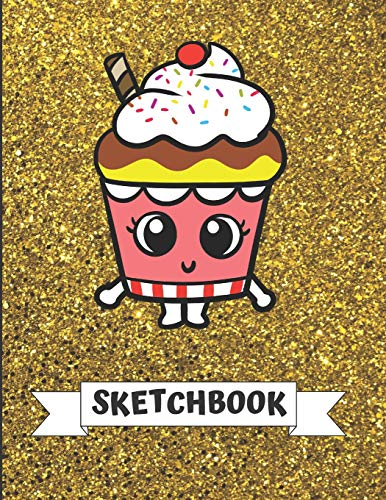 Sketchbook: Cute Birthday Cup Cake with Sprinkles With Gold Glitter Effect Background, Large Blank Sketch Book For Girls and Boys of All Ages. Perfect ... & Crayon Coloring (Kids Drawing Books) (Sprinkles Glitter Pink)