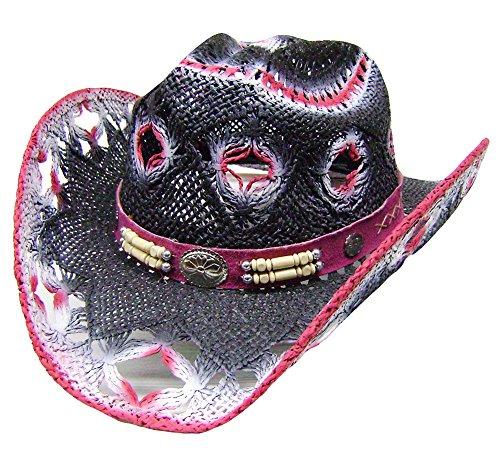 modestone-womens-straw-cappello-cowboy-white-fuchsia-black