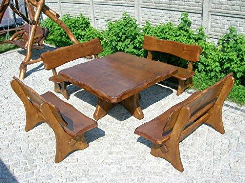 Kiefer Gartenmöbel (Gartentisch quadratisch Kiefer mit 4 Bänken - Gartenmöbel Sitzgruppe aus Massivholz)