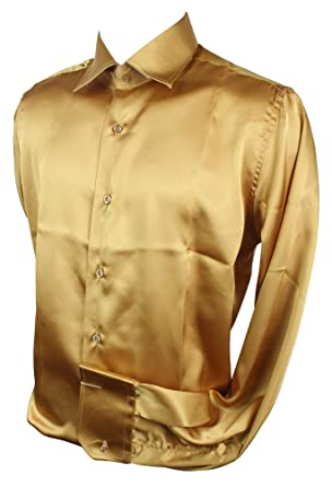 Mens Italian Design Gold Silk Satin Finish Shirt Smart Slim Fit ...
