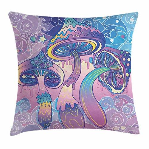 Pilz Überwurf Kissen Kissenbezug von ambesonne, trippy Zeichnen Hippie Decor Sixties Visionary Psychedelic schamanistischer, dekorative Square Accent Kissen Fall, aqua light pink lila, Textil, Multi 1, 18