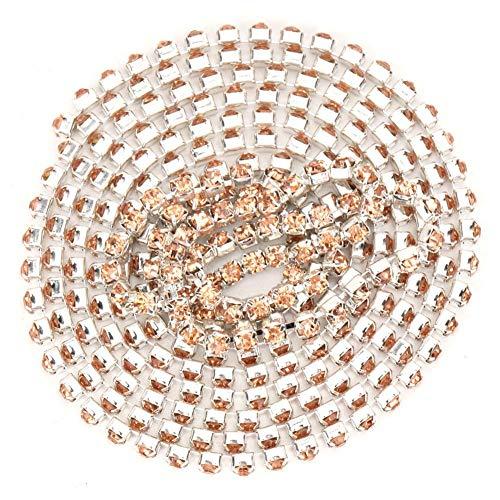 HEEPDD Länge 5 m Breite 2,8 mm Strass Kette Trim Ribbon, DIY Wrap Roll Crystal Faux Bohrer Borte Applique für Kleidung Möbel Dekoration Zubehör(Champagner) (Trim Champagner-perlen)