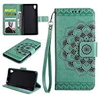 Z5 Wallet Case, EST-EU Retro Mandala Embossing PU Leather Stand Function Protective Covers with Card Slot Holder Wallet Book Case for SONY Z5, Green
