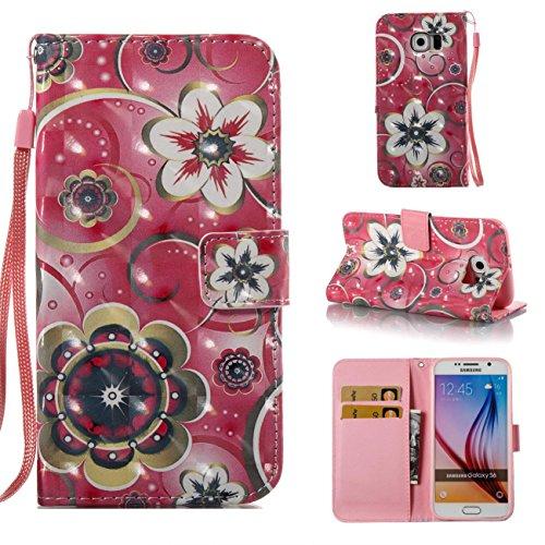 Galaxy S6 Hülle, Firefish Kickstand Brieftasche mit inneren Silikon Bumper Cover voller Schutzhülle mit Kreditkarteninhaber Kreative Geschenk für Geburtstag und Weihnachten für Samsung Galaxy S6-Tower Blumen