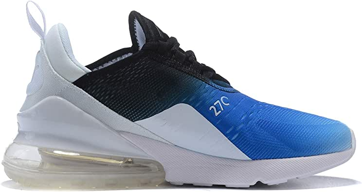 Air 270 Chaussures de Running Compétition Homme Sneakers Chaussure de Course Sport Walking Shoes (45 EU, Blanc Bleu)