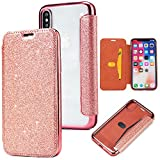 Yobby Coque pour iPhone XS,Coque iPhone X,Ultra Slim Cuir Glitter Paillette Or Rose...