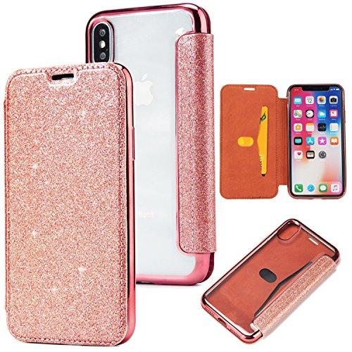 Yobby Glitzer Brieftasche Hülle für iPhone XS 5.8 Zoll,iPhone X Handyhülle, Luxus Bling Slim Leder Magnetisch Flipcase Kartenfach Durchsichtig Weich TPU Überzug Schutzhülle-Roségold