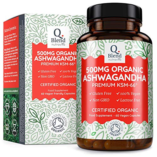 Ashwagandha Orgánica 500mg KSM 66 Suplemento Ayurvédico Herbal por Nutravita (60...