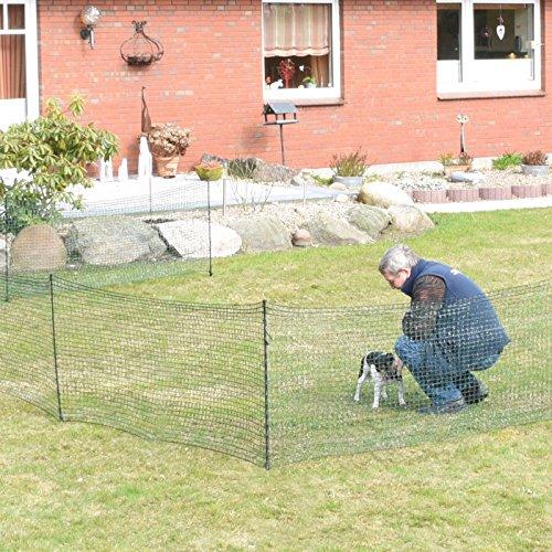 Gartennetz Universal Begrenzungszaun VOSS.farming farmNET 20 m Premium, 80 cm, 12 Pfähle, dunkelgrün, Hundezaun, Welpenzaun, Beetschutz - 4