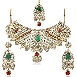 Reeva Exclusive Semi Bridal Multicolor Austrian Diamond Choker Necklace Set For Women