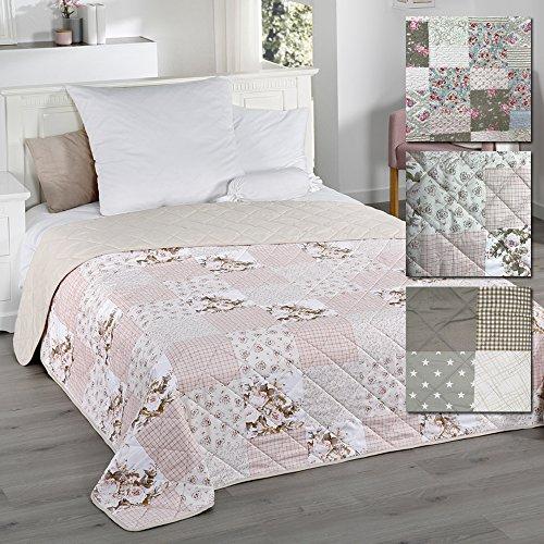 Wende-Tagesdecke Patchwork 220 x 240 cm als Bettüberwurf oder Sofaüberwurf Decke in verschiedenen Designs Schlafdecke Plaid mit Thermopolyester, Design:Floral Ecru
