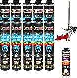 SET Dämmstoffkleber 10 Dose 750ml Klebeschaum Perimeterkleber Kleber für Dämmung + 1 Reiniger + 1 Schaumpistole